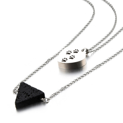 Puppy Paw Print Heart Pet Cremation Necklace