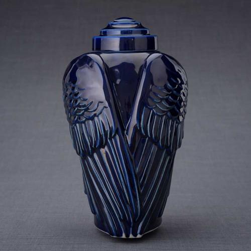 Cobalt Blue Angel Wings Cremation Urn