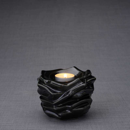 Radiance Tealight Candle Small Cremation Urn in Black Gloss