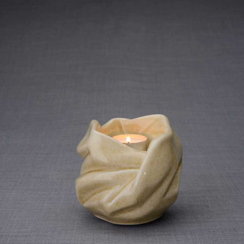 Luminous Tealight Candle Small Cremation Urn in Light Sand