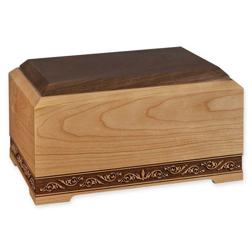 Solid Cherry & Walnut Wood Cremation Urn