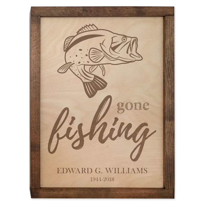 Gone Fishing Wall Mounted Wood Cremation Urn Plaque Urns