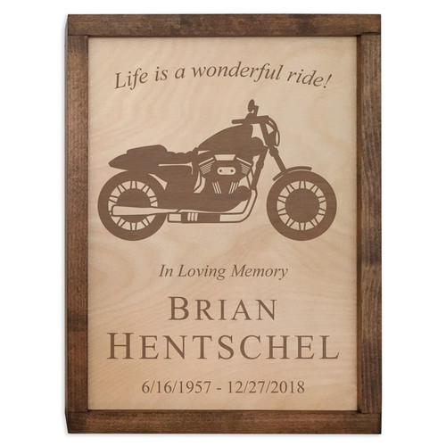 Motorcycle Wood Cremation Urn Plaque