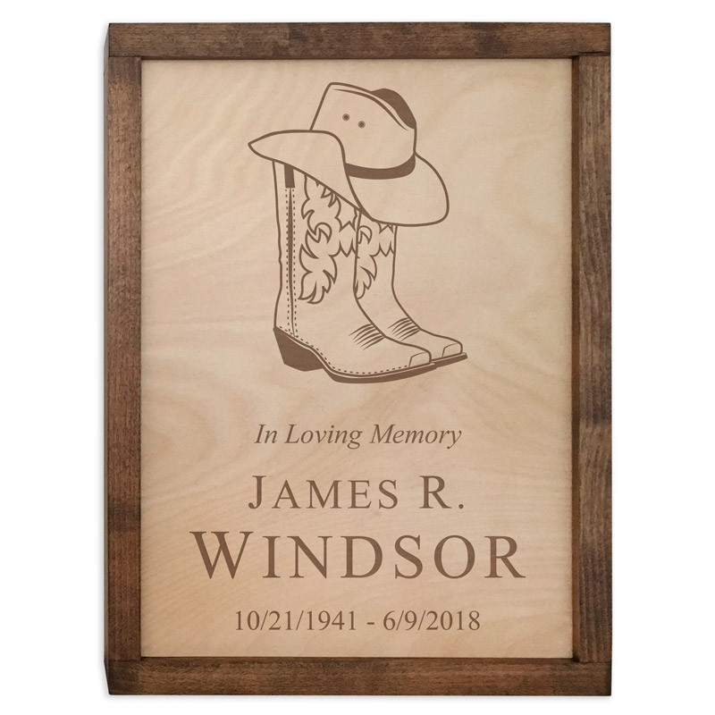 c12504a28fd Cowboy Boots Wall Mounted Wood Cremation Urn Plaque
