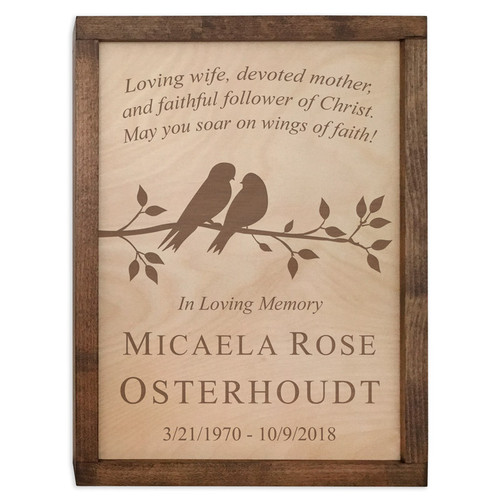 Cute Birds Wood Cremation Urn Plaque