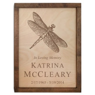 Dragonfly Wood Cremation Urn Plaque