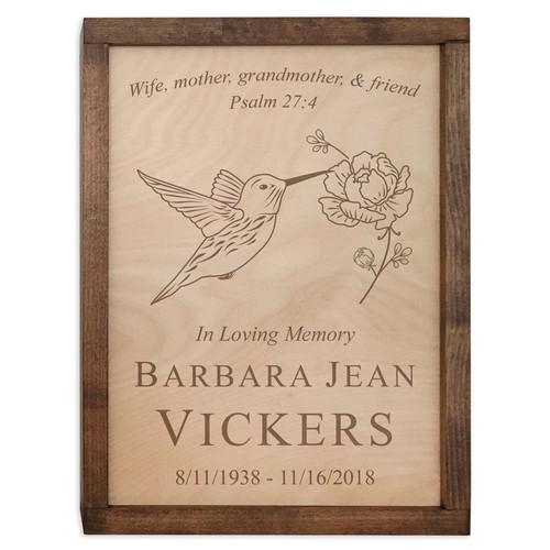Hummingbird Wood Cremation Urn Plaque