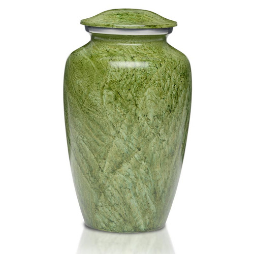 Artisan Green Metal Cremation Urn - Adult Urn