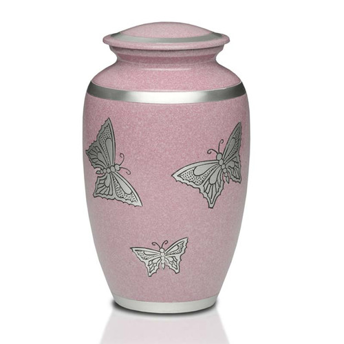 Butterflies in Pink Metal Cremation Urn - Adult Urn