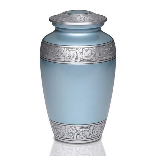 Antique Teal Blue Metal Cremation Urn - Adult Urn