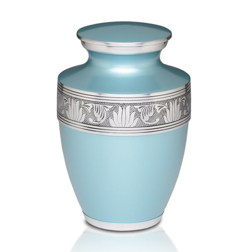 Savant Metal Cremation Urn in Teal Blue