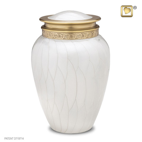 Blessing Brass Cremation Urn in Pearl White - Adult