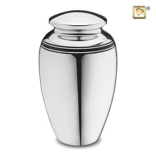 Art Deco Brass Cremation Urn in Silver - Adult