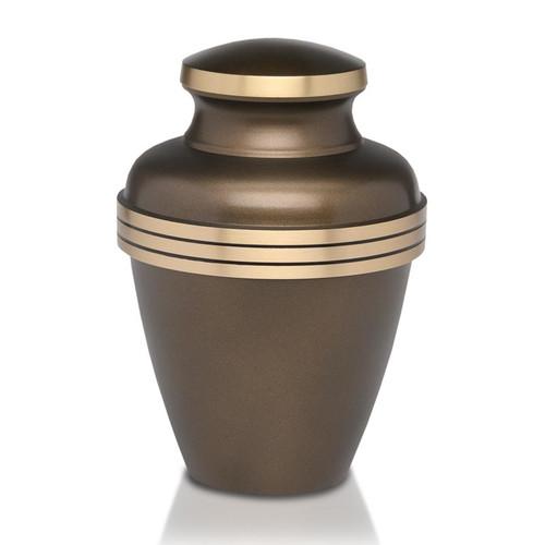 Brass Cremation Urn with Decorative Stripes