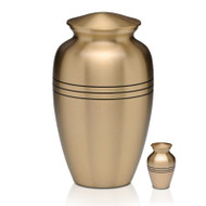 Adult Brass Urn & Small Keepsake Urn
