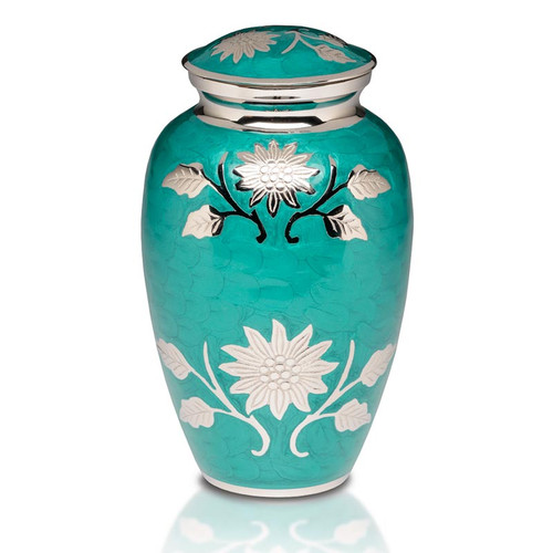 Floral Symphony Brass Urn in Teal Green