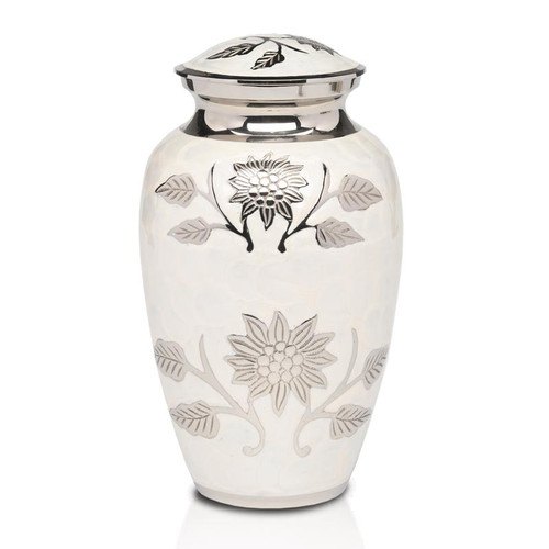 Floral Symphony Brass Urn in White