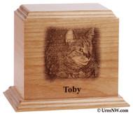 Engraved Photo Pet Urn - Alder