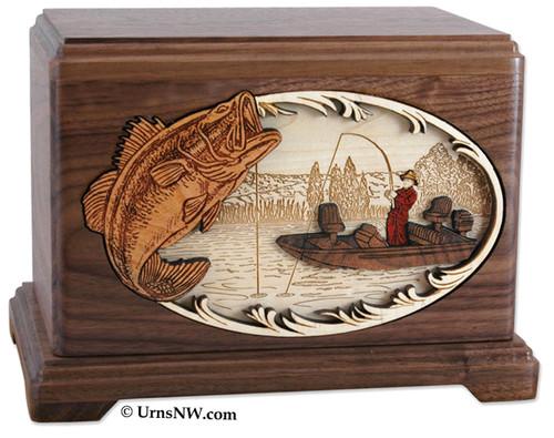 Boat Fishing Urn - Walnut Wood - Bass