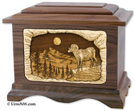 "Mountain Ram ""Ambassador"" Urn in Walnut Wood"