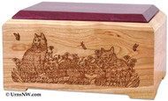 Cat Lover's Cremation Urn - Cherry with Purple Heart top