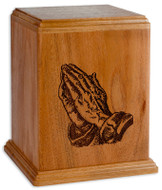 Laser Carved Praying Hands Cremation Urn - Mahogany