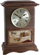 Clock Cremation Urn - Walnut with Rustic Scene