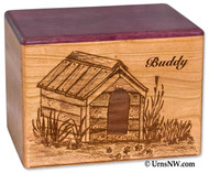 Dog House Urn in Cherry Wood with Purple Heart