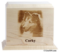 Engraved Photo Pet Urn - Maple