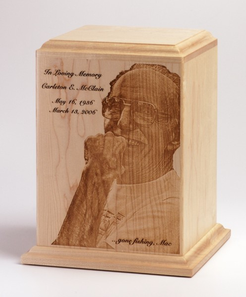 Maple Wood Cremation Urn with Laser Engraved Photo Memorial