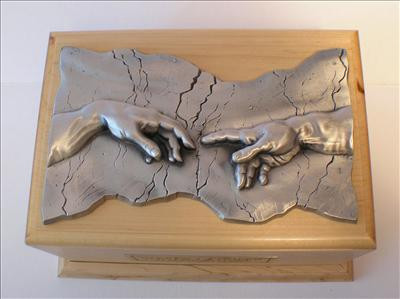 Hand of God Wood Cremation Urn Maple Pewter Plaque