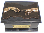 Hand of God Marble Cremation Urn - Black Marble - Bronze Plaque