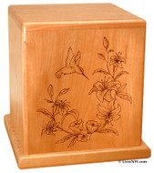 Hummingbird Urn Solid Cherry wood