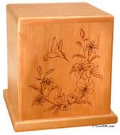 Hummingbird Urn Solid Cherry wood