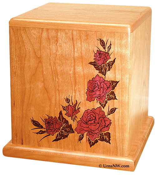 Cherry Wood Urn with Roses Inlay