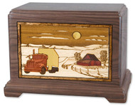 Trucker Wood Cremation Urn