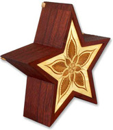 Star Hand Carved Wooden Urn