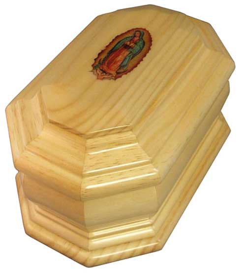 Our Lady of Guadalupe Wood Urn - Radiata