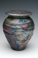 Handmade Raku Cremation Urn in Dolphin Blue