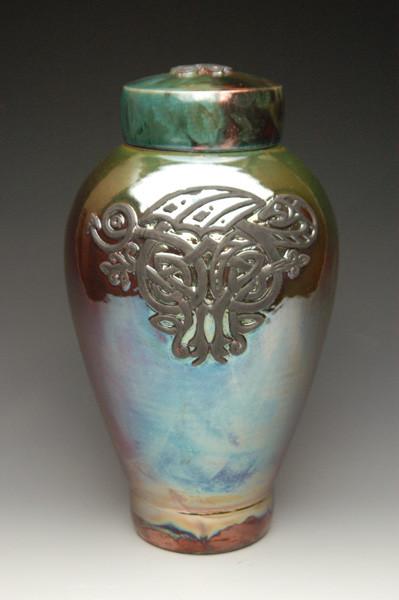 Handcrafted Celtic Dragon Raku Ceramic Cremation Urn - Urns Northwest