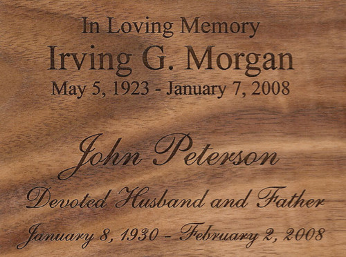 Cremation Urn Engraving Fonts: Times New Roman and Snell (Roundhand)