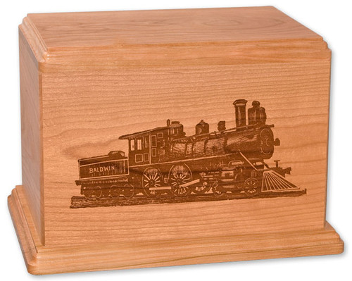 Laser Carved Train Cremation Urn