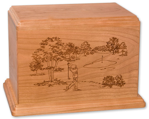 Laser Carved Golf Urn | Cherry