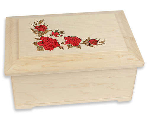 Red Roses Floral Inlay Cremation Urn in Maple Wood