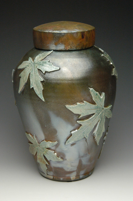 Raku Companion Urn: Lemon Luster on Heavy Metal