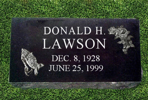 Personalized Granite Grave Marker Praying Hands
