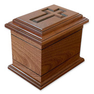 Wilmington Cross Urn in Mahogany Wood