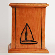 New Horizon Sailboat Laser Carved Cherry Urn