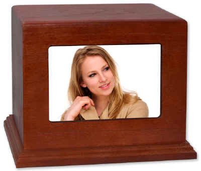 Photo Display Cremation Urn Landscape Frame Pictured in Cherry Wood