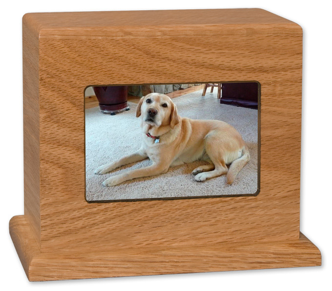 Photo Display Pet Urn In Natural Cherry Horizontal Large Urns